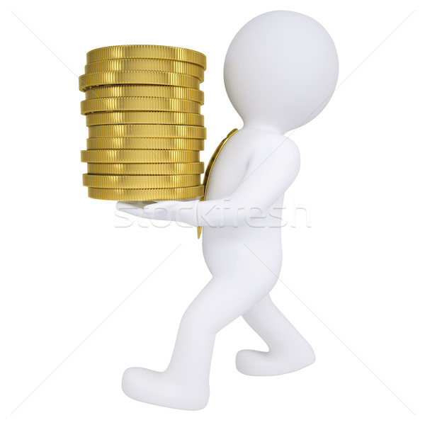 3d man carries a gold coin Stock photo © cherezoff