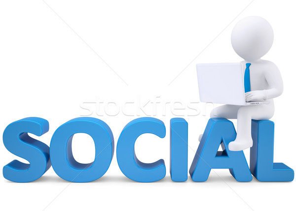 3d man with laptop sitting on the word SOCIAL Stock photo © cherezoff
