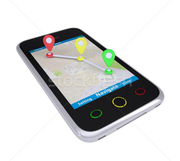 Smartphone Karte isoliert weiß Business Stock foto © cherezoff