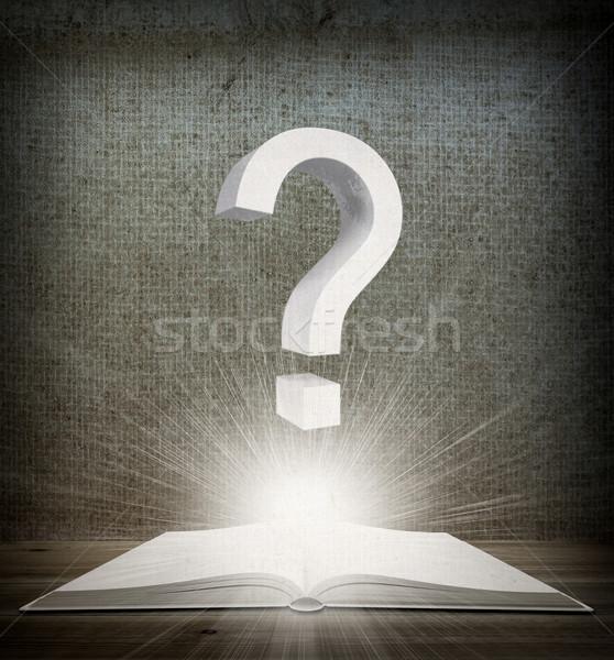 Open boek vraagteken vloer boek muur achtergrond Stockfoto © cherezoff