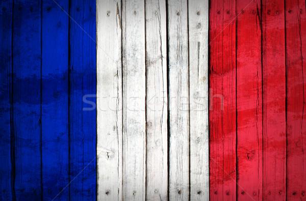 Zászló Olaszország festett fából készült grunge stílus Stock fotó © cherezoff