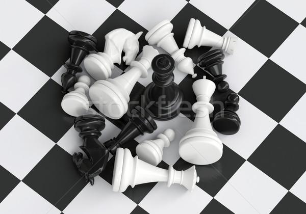 Negro rey del ajedrez batalla gris caballo ajedrez Foto stock © cherezoff