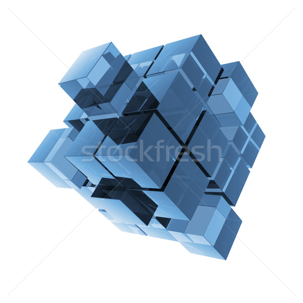 Cubes blue glass abstraction Stock photo © cherezoff