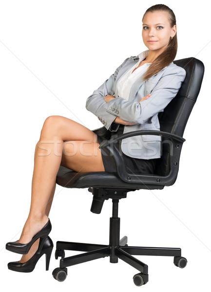 деловая женщина офисные кресла прямой назад ног глядя Сток-фото © cherezoff