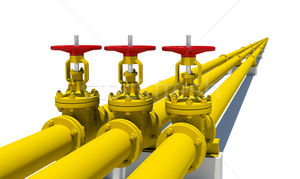 Three yellow pipes with valves Stock photo © cherezoff