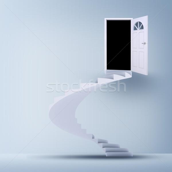 Nyitott ajtó lépcsősor absztrakt fehér Stock fotó © cherezoff
