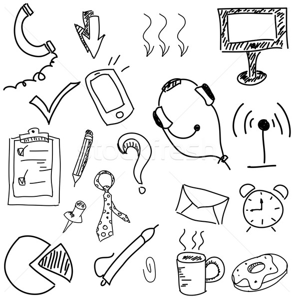 Drawn picture with headphones Stock photo © cherezoff