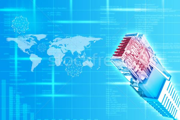 Kabel komputerowy mapie świata streszczenie niebieski komputera Pokaż Zdjęcia stock © cherezoff