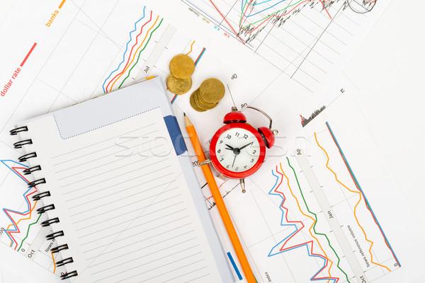 ébresztőóra notebook ceruza üzlet iratok pénz Stock fotó © cherezoff