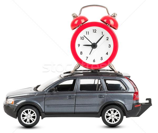 Carro despertador branco isolado vista lateral relógio Foto stock © cherezoff