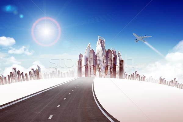 шоссе дороги город Jet Blue Sky бизнеса Сток-фото © cherezoff