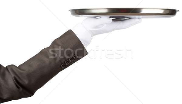 Professional waiter holding empty tray Stock photo © cherezoff