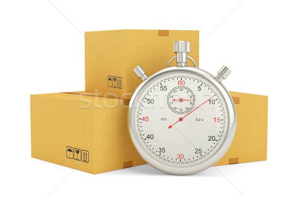 Chronomètre paquet blanche livraison express 3d illustration affaires Photo stock © cherezoff