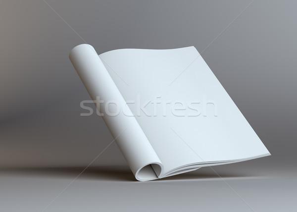 Abrir papel folheto cinza estúdio vazio Foto stock © cherezoff