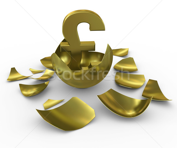 Gold GBP sign hatched from eggs of gold Stock photo © cherezoff