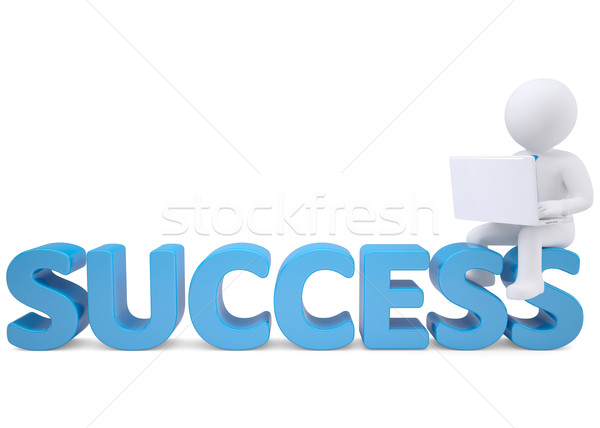 3d man with laptop sitting on the word SUCCESS Stock photo © cherezoff