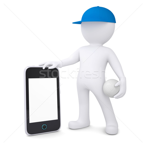 3d man with volleyball ball holding smartphone Stock photo © cherezoff