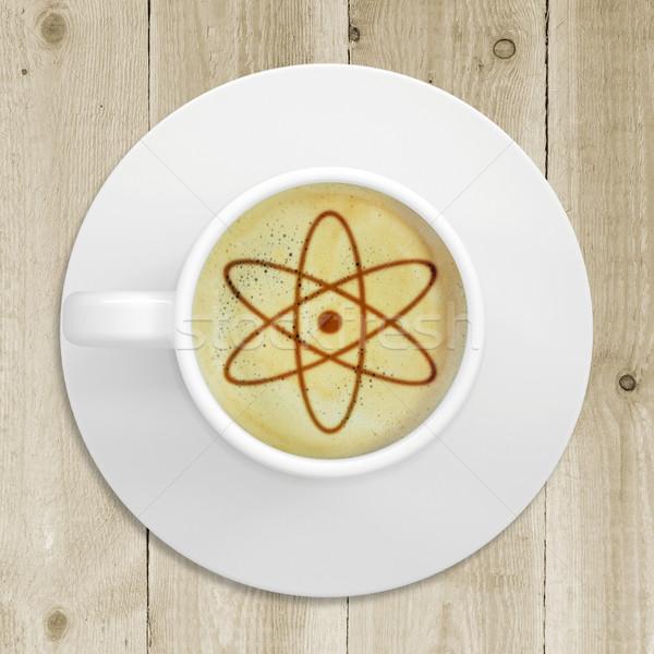 Foto atoom teken koffie schuim beker Stockfoto © cherezoff