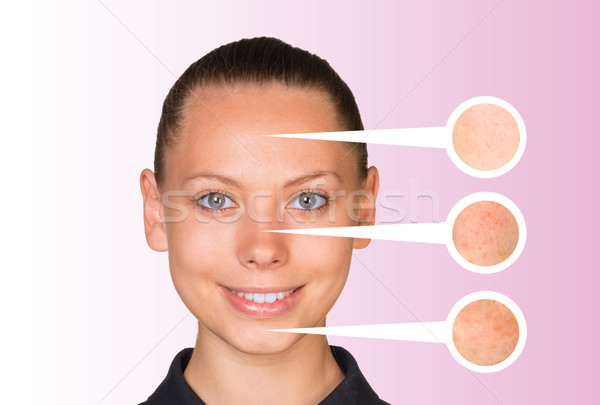 Beautiful young woman. Callouts with zoom portions of skin Stock photo © cherezoff