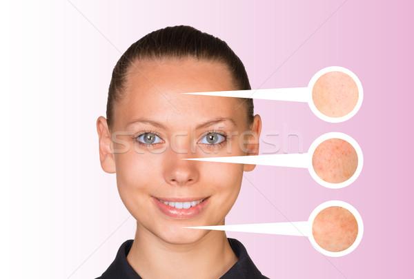 美しい 若い女性 ズーム 皮膚 肖像 顔 ストックフォト © cherezoff