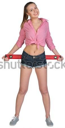 Bella ragazza pantaloncini shirt rosso Foto d'archivio © cherezoff