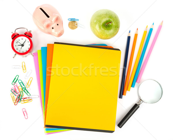 Apfel Büro Bleistift Tasse Buntstifte Wecker Stock foto © cherezoff
