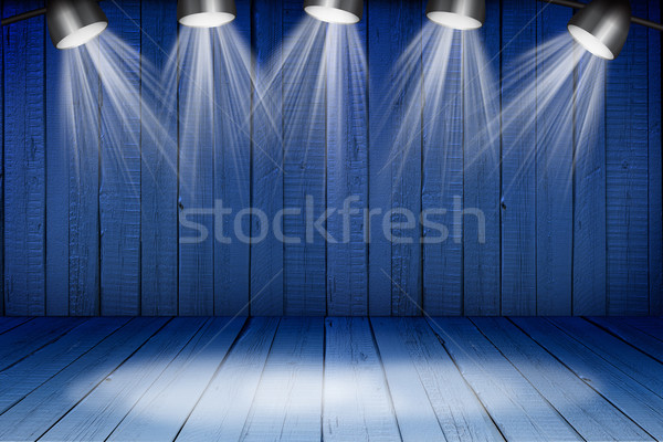 Illuminated empty concert stage with soffits Stock photo © cherezoff