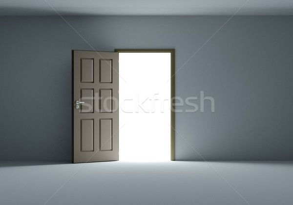 Stock photo: Open door with bright light