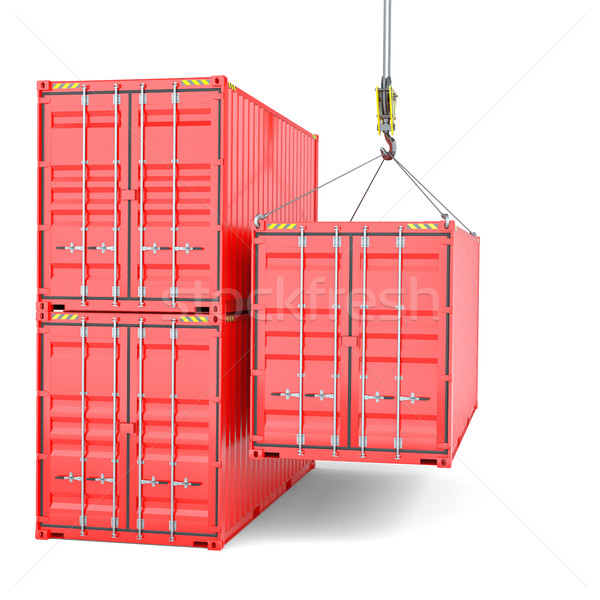 Stockfoto: Scheepvaart · kraan · haak · vracht · geïsoleerd · witte