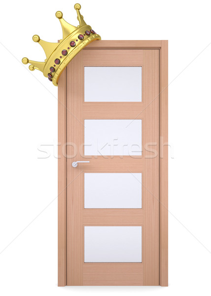 Altın taç ahşap kapı yalıtılmış vermek Stok fotoğraf © cherezoff