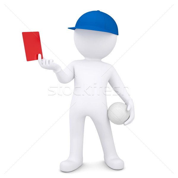 3d white man with volleyball ball shows red card Stock photo © cherezoff
