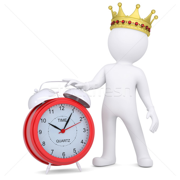 3d white man with crown holding a red alarm clock Stock photo © cherezoff