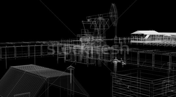 Сток-фото: аннотация · промышленных · Черно-белые · оказывать · черный · здании