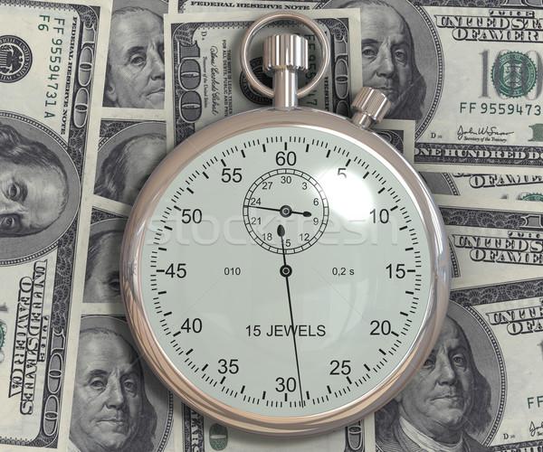 Tijd is geld dollar 3D gegenereerde afbeelding geld Stockfoto © cherezoff