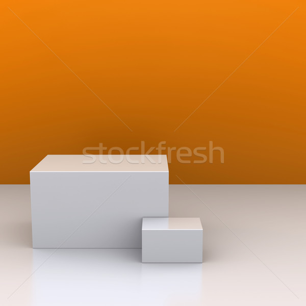 The white boxes in the background of an orange wall. The studio. 3D visualization Stock photo © cherezoff