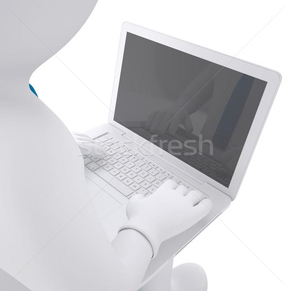 Foto stock: Branco · o · homem · 3d · trabalhando · laptop · tornar · computador