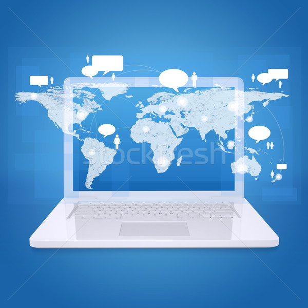 Laptop and world map with contacts Stock photo © cherezoff