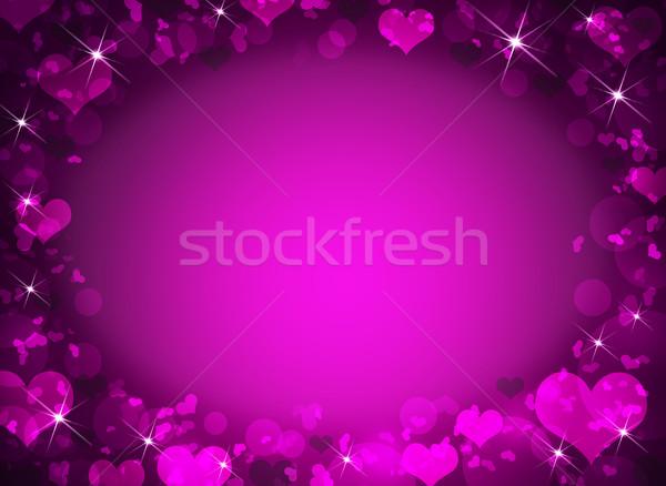 Absztrakt keret magenta szívek valentin nap virág Stock fotó © cherezoff