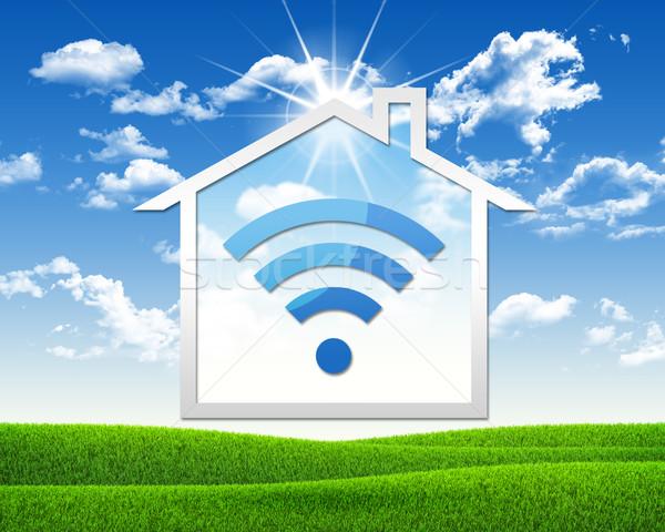 Stock photo: House icon with wi-fi symbol
