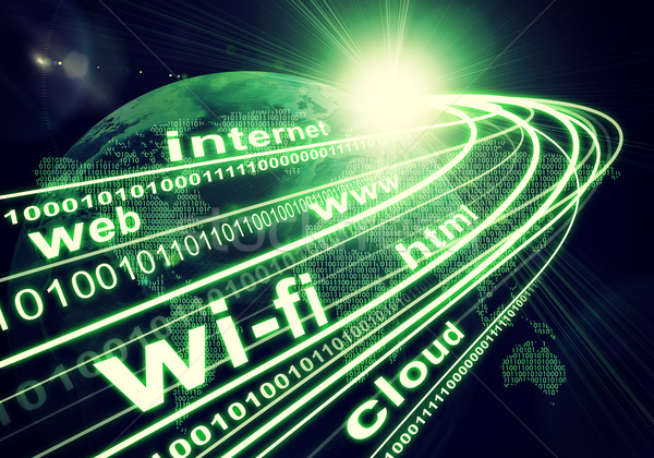 Earth, continents, light beams, digits and words like internet, web, etc. on dark background Stock photo © cherezoff