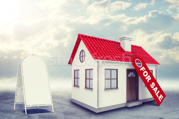 White house with label for sale, red roof, sidewalk sign and chimney. Background sun shines brightly Stock photo © cherezoff