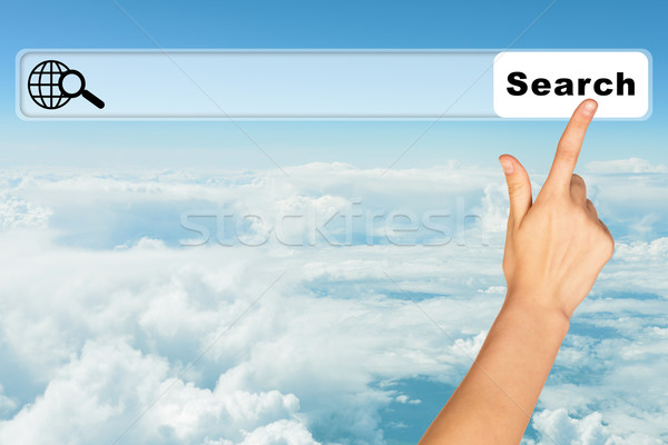 Humans hand on blue sky background Stock photo © cherezoff