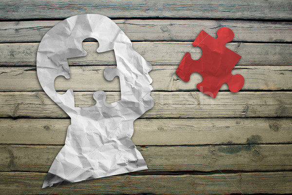 Paper humans head with red puzzle symbol Stock photo © cherezoff