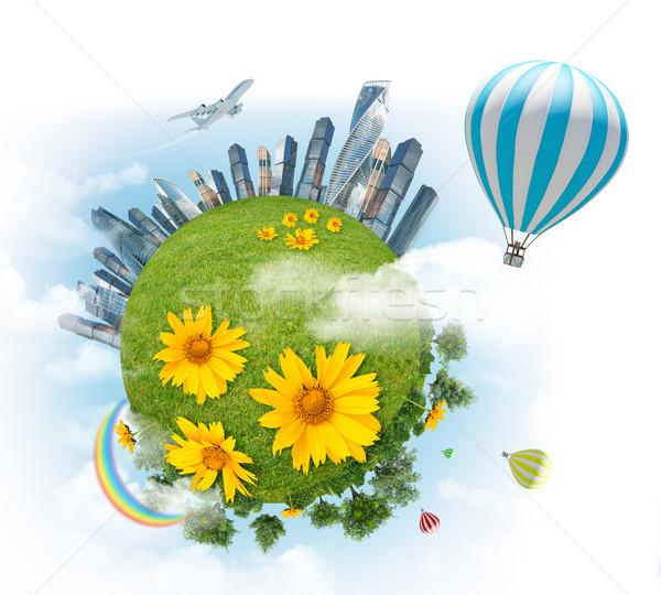 バルーン 地球 虹 現代 市 青空 ストックフォト © cherezoff