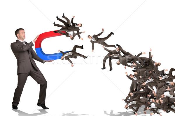 üzletember emberek mágnes izolált fehér bank Stock fotó © cherezoff