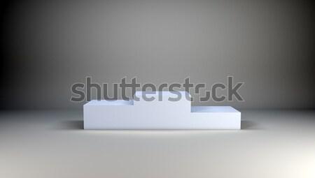 Kazanan podyum gri beyaz duvar 3d illustration Stok fotoğraf © cherezoff