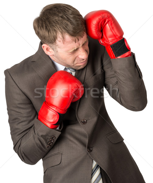Businessman with boxing gloves defending Stock photo © cherezoff