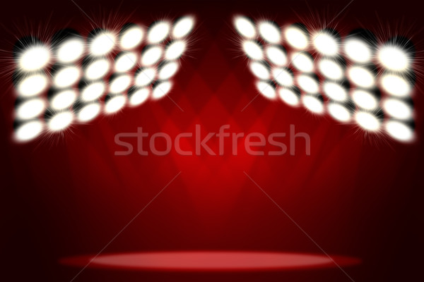 Red background in show. Spotlight on smog Stock photo © cherezoff