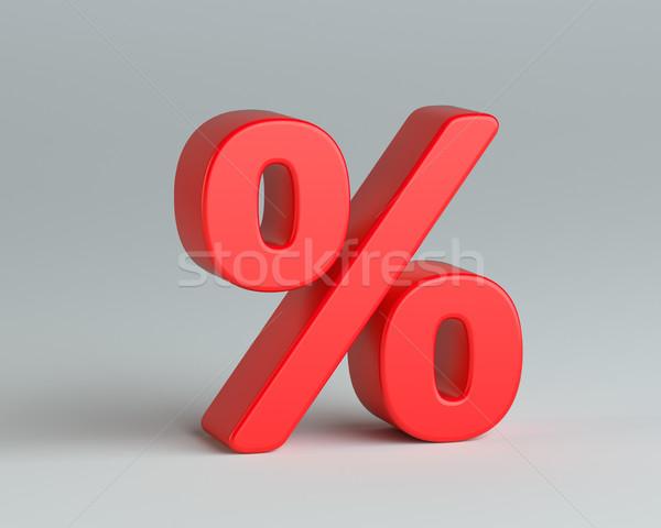 Rood percentage teken grijs 3d illustration financieren Stockfoto © cherezoff