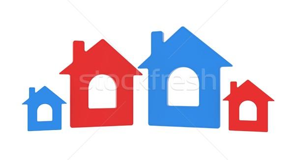Négy ház ikon izolált render fehér Stock fotó © cherezoff